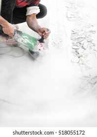 Cutting concrete smooth with dust