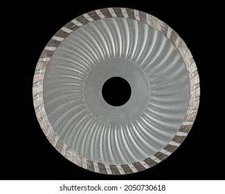 Cutting disk with diamonds, diamond disc for concrete, isolated on black background
