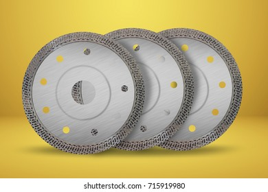 Cutting disks with diamonds - Diamond discs for concrete isolated on the yellow background