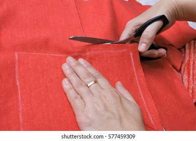 The cutting of fabric hand seamstress