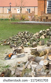 Cutting firewood with a chainsaw in an English garden setting with a large country house in the background