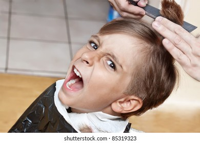 cutting hair at the barber
