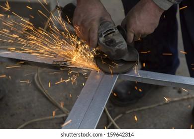 Cutting metal grinder close up