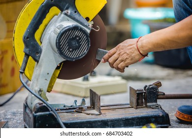 Cutting metal with hand tool saws for cutting aluminum alloy, closeup of photo.