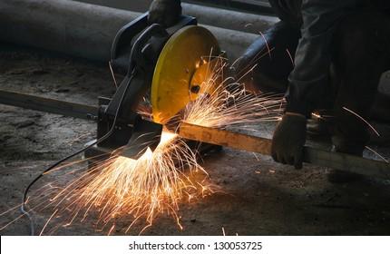 Cutting metal on modern plant