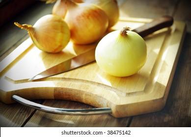 Cutting onions.