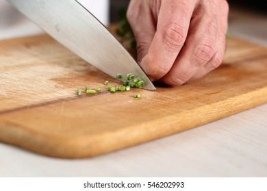 Cutting Parsley. Making Salmon in Puff Pastry Series.