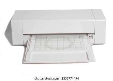 Cutting plotter isolated on white background