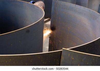 Cutting and preparing sheet metal at an engineering works