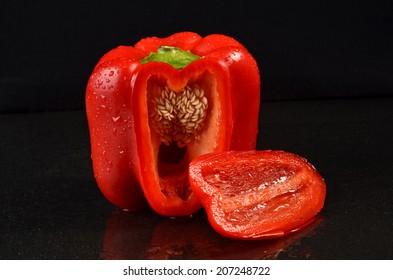 Cutting a red bell pepper