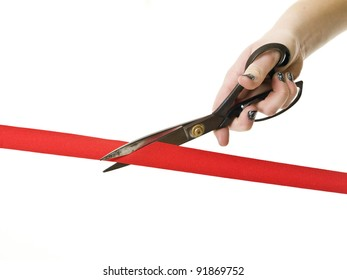 Cutting the Red Ribbon close up