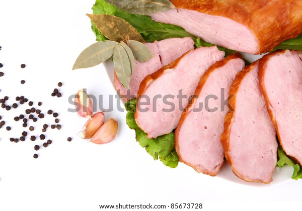 Cutting sausage and cured meat with a parsley