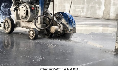 cutting seams in a polished concrete floor using special equipment