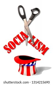 Cutting Socialism with scissors into Uncle Sam hat.
