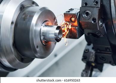 cutting tool at metal working on lather machine