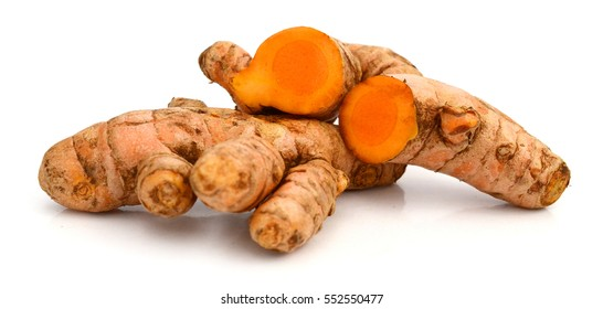 Cutting of turmeric roots isolated on white background