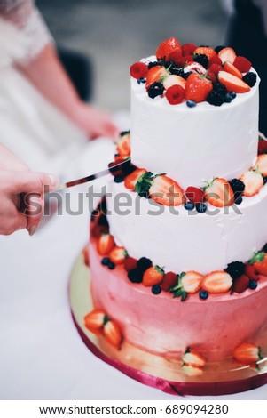 Cutting Wedding Cake Fruit Stock Photo Edit Now 689094280