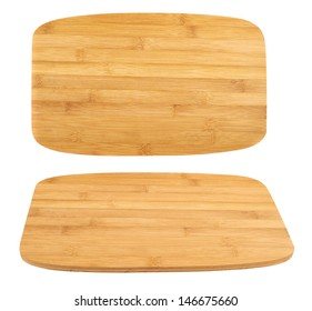 Cutting wooden board isolated over white background, set of two foreshortenings