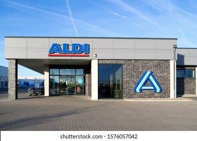 CUXHAVEN, GERMANY - OCTOBER 31, 2019: Aldi branch (north division). Aldi is a leading global discount supermarket chain with almost 10,000 stores in 18 countries.
