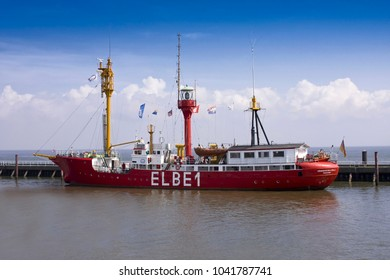 """CUXHAVEN,GERMANY, -APRIL 19, 2018:Lightship """"Elbe1"""", Cuxhaven, Lower Saxony, Germany, Europe"""