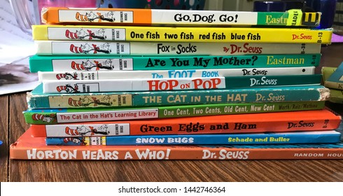Cuyahoga Falls, OH/ USA - July 1, 2019: Stack of Children's Dr Suess Story Books