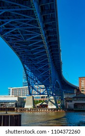 The Cuyahoga River flowing under the Main Avenue Bridge in downtown Cleveland Ohio