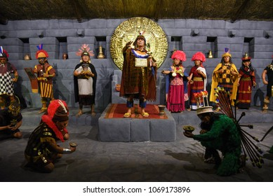 Cuzco / Peru - 07.12.2017: Ancient Peruvian Elite. Priest, Lords and Incas.