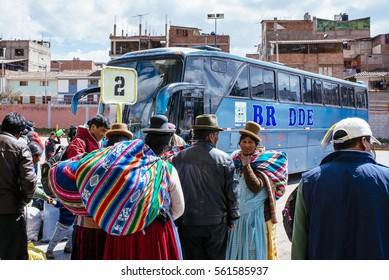 CUZCO/ PERU, AUGUST 24, 2015: Locals are waiting an the bus terminal
