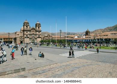 Cuzco, Peru - August 6, 2019: The main square of Cusco, Plaza de Armas with its famous landmark, Cusco Cathedral, Cusco, Peru, South America