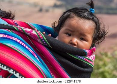 CUZCO, PERU - CIRCA 2015: Portrait  of a unidentified children circa 2015, in Cuzco, Peru.