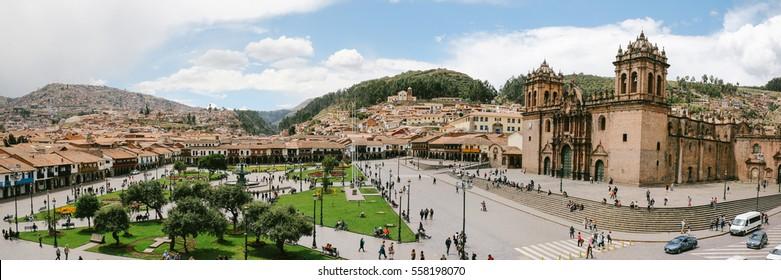 CUZCO, PERU - CIRCA NOVEMBER 2016: Aerial view of Plaza de Armas, the main square in central Cuzco city, Peru.