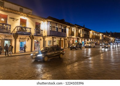 CUZCO, PERU - MAY 23, 2015: Colonial houses at Plaza de Armas square in Cuzco, Peru.
