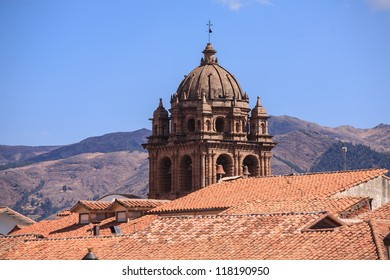 CUZCO, PERU: View of the dome of the La Merced Church over the roof of the city