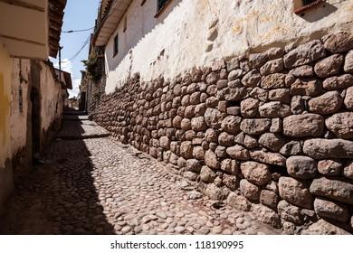 CUZCO, PERU: View of a little street in a old neighborhood.