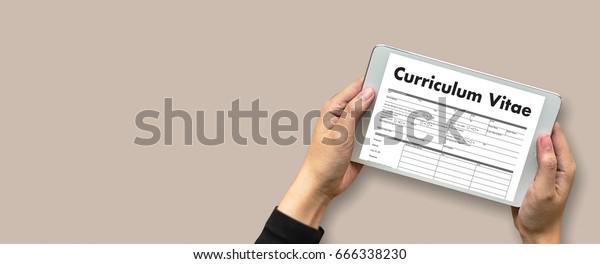CV - Curriculum Vitae (Job interview concept with business CV resume) , BUSINESS OFFICE BUSINESSMAN WORKING application job
