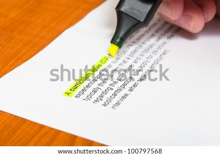 Cv Form Curriculum Vitae Definition Printed Stock Photo Edit Now