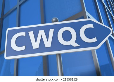 CWQC - Company Wide Quality Control - illustration with street sign in front of office building.