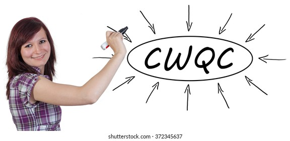 CWQC - Company Wide Quality Control - young businesswoman drawing information concept on whiteboard.