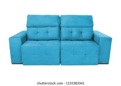Cyan modern color suede couch sofa  isolated on white background