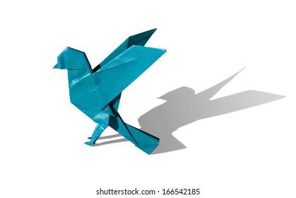 Cyan Origami Bird Robin isolated on white