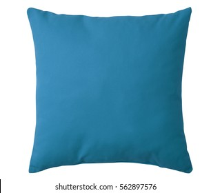 Cyan pillow isolated on white background. Include clipping path
