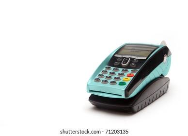 Cyan Portable Credit Card Terminal on Base