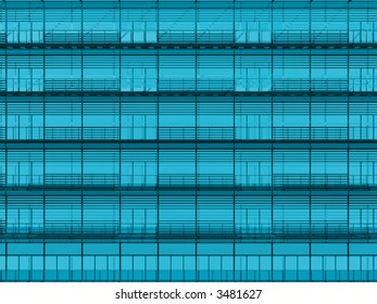 Cyan steel and glass building elevation texture