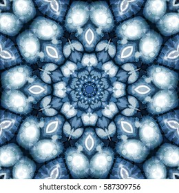 Cyan symmetrical abstract background. Fractal mandala. Kaleidoscopic round pattern for creative graphic design