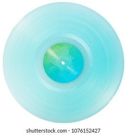 Cyan transparent vinyl record disc with paper label isolated on white background.