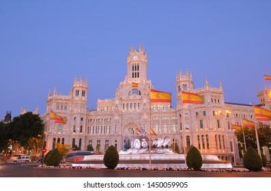 Cybele Palace night Madrid Spain