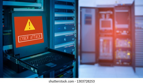 """ CYBER ATTACK "" and Alert icon on display of computer for management server in data server room"