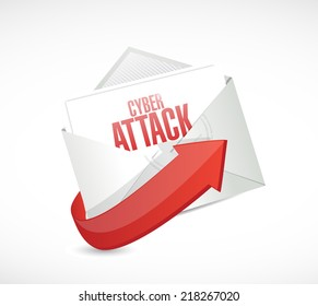 cyber attack email envelope illustration design over a white background