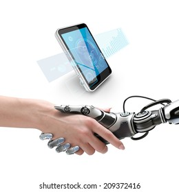 Cyber communication design concept. Female robot and human holding hands with handshake. Smartphone with virtual interface