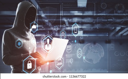 cyber crime concept with no face hacker and digital technology illustration projected from laptop